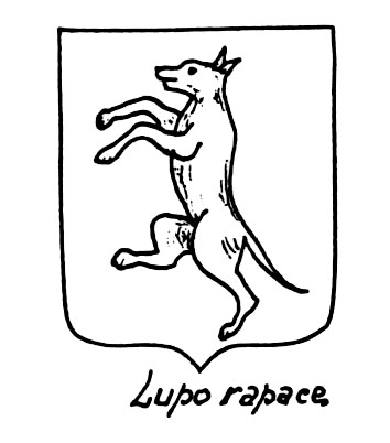 Image of the heraldic term: Lupo rapace