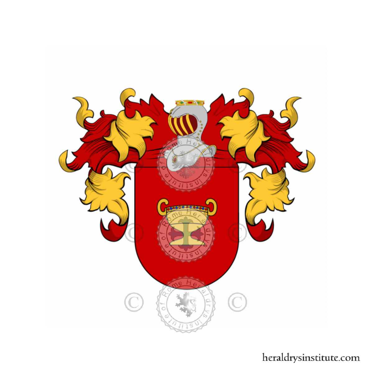 Our most popular product! 11 x 17 Full color Family Coat of Arms Last Name History Bibliography of sources printed on the back of the page Watermark of Country